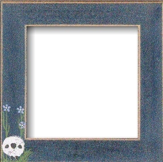 "GBFRFA1 Matte Blue with Hand painted Sheep in the meadow Frame 8""X 8""."