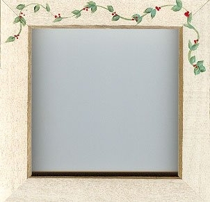 "GBFRFA18 Matte Antique White with Hand painted Berry Vine Frame 8""X 8""."