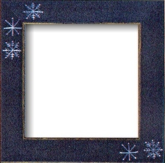 "GBFRFA15 Matte Blue with Hand painted Snowflakes Frame 8""X 8""."