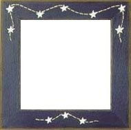 "GBFRFA7 Matte Blue with Hand painted Stars & Stitches Frame 8""X 8""."