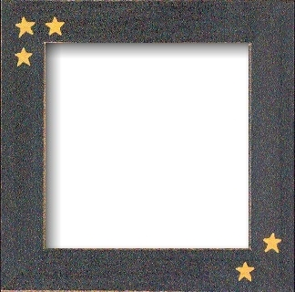 "GBFRFA6 Matte Black with Hand painted Primitive Stars  Frame 8""X 8""."