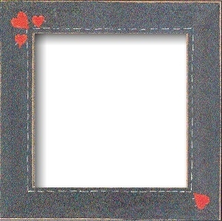 "GBFRFA13 Matte Blue with Hand painted Primitive Hearts  Frame 8""X 8""."