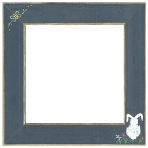 "GBFRFA12 Matte Blue with Hand painted Bumble Bee & Bunny Frame 8""X 8""."