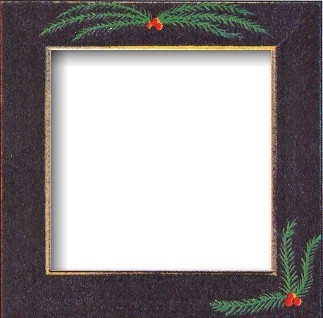 "GBFRFA16 Matte Black with Hand painted Pine Boughs Frame 8""X 8""."