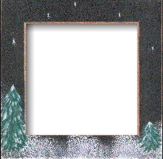 "GBFRFA10 Matte Black with Hand painted  Winter Night Frame 8""X 8""."