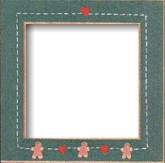 "GBFRFA9 Matte Green with Hand painted  Gingerbread Frame 8""X 8""."