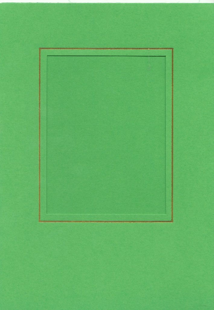 PK026-22 Bright Green   Medium Rectangle Card Double Fold with Small Rectangle Aperture.  Pack of 5 Cards