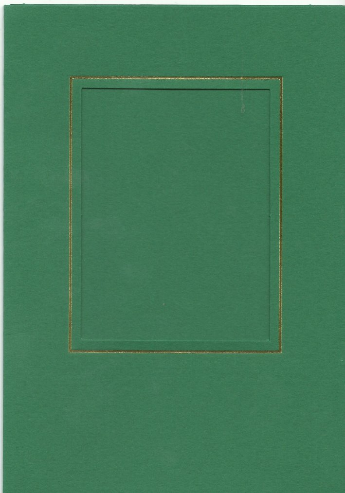 PK026-23 Green   Medium Rectangle Card Double Fold with Small Rectangle Aperture.   Pack of 5 Cards