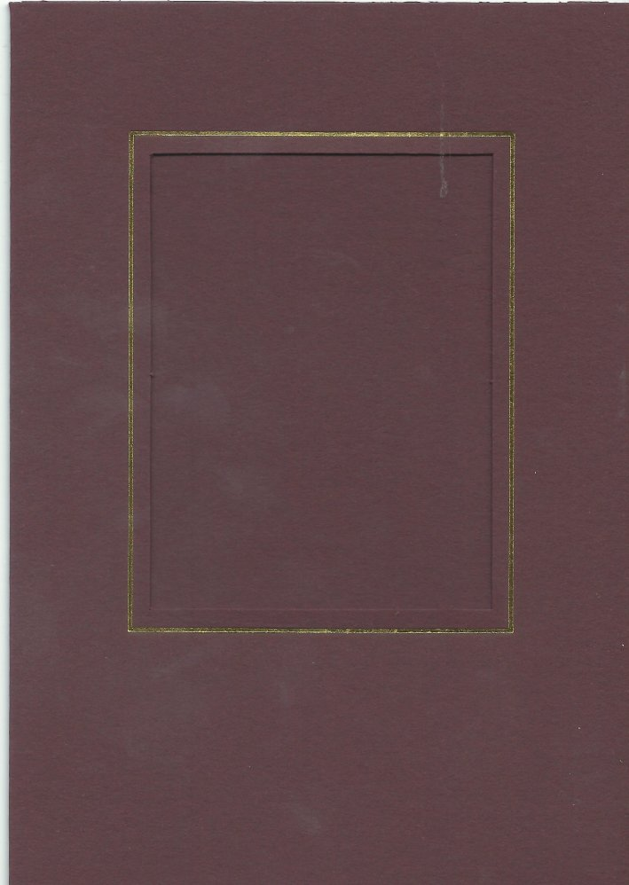 PK026-19 Maroon  Medium Rectangle Card Double Fold with Small Rectangle Aperture.   Pack of 5 Cards
