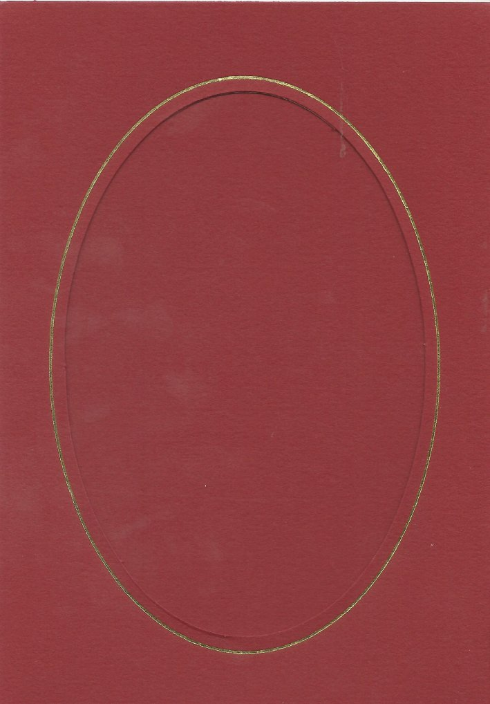 PK085-18 Red Double Fold with Large Oval Aperture.  Pack of 5 Cards