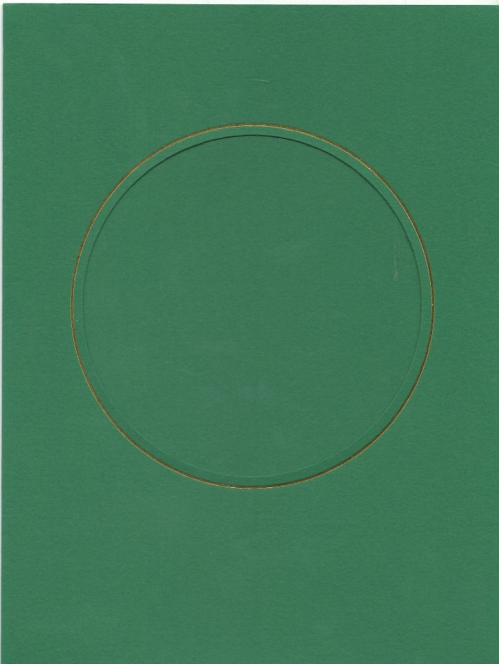 PK087-23 Green Double Fold with Large Round Aperture.   Pack of 5 Cards
