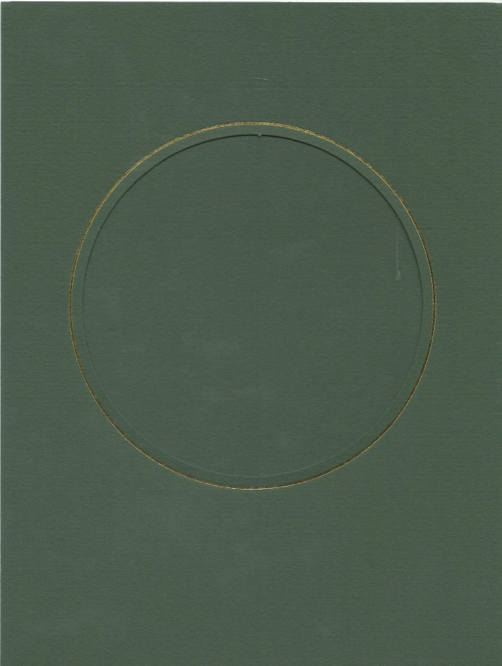 PK087-24 Dark Green Double Fold with Large Round Aperture.   Pack of 5 Cards