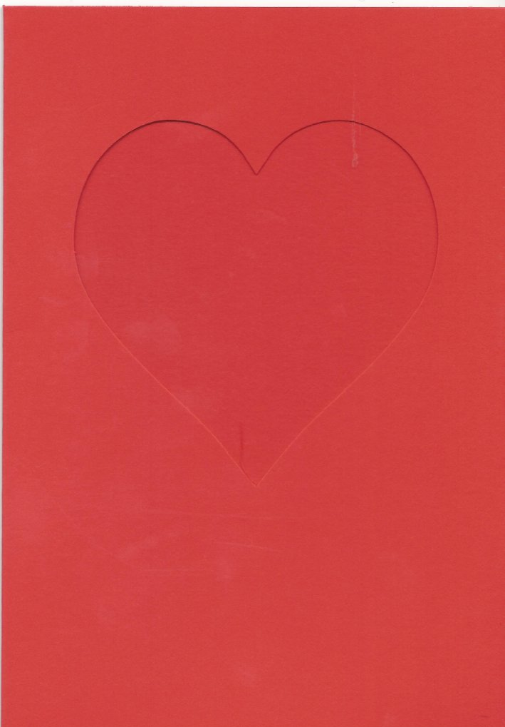 PK685-17 Bright Red Double Fold Medium Card with Small Heart Aperture.  Pack of 5 Cards.