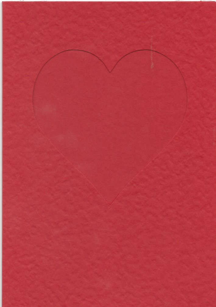 PK685-49 Red Double Fold  Medium Embossed Card with Small Heart Aperture.   Pack of 5 Cards.