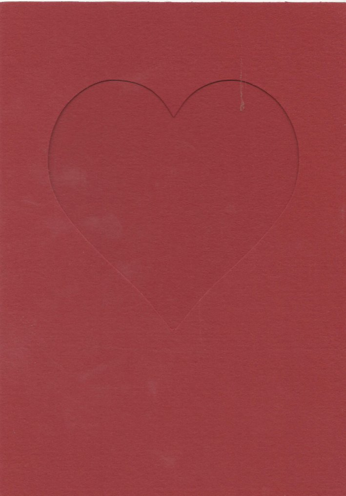 PK685-18 Dark Red Double Fold  Medium Embossed  Card with Small Heart Aperture.   Pack of 5 Cards
