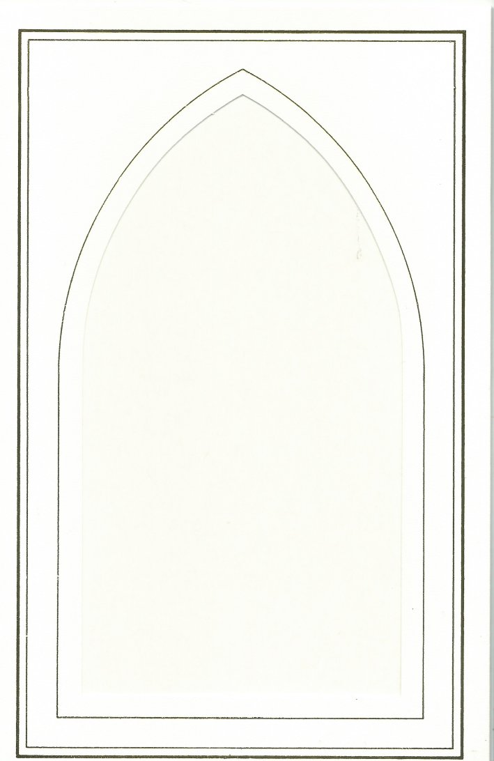 PK170-54A White Double Fold with Church Window Aperture. Pack of 5 Cards