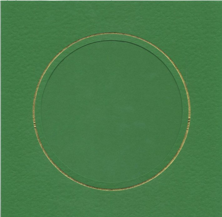 PK384-50 Green Double Fold with Extra Large Round Aperture. Pack of 1 Card