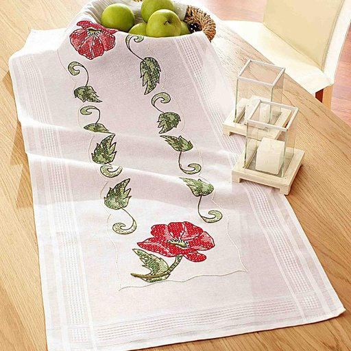 Printed Cross Stitch  Table Runner  Kit No.10-248 by Deco - Line