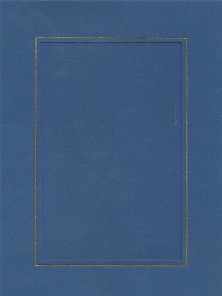 PK026-29 Blue  Medium Rectangle Card Double Fold with Small Rectangle Aperture.   Pack of 5 Cards