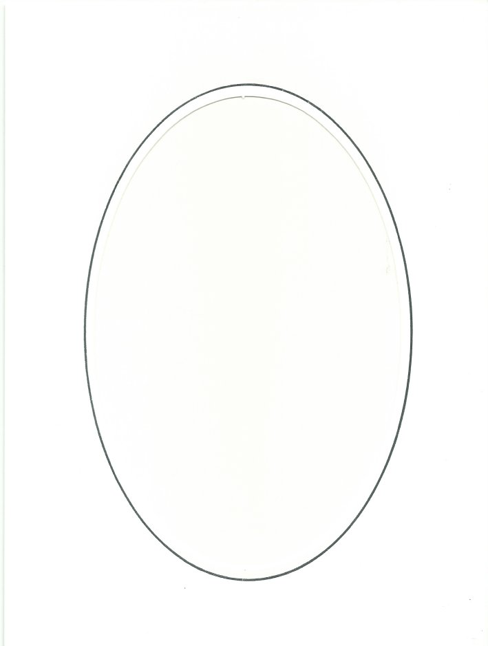 PK085-30B White Double Fold with Large Oval Aperture. Pack of 5 Cards